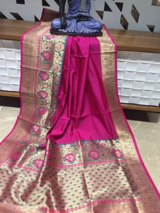 Pink Color Banarasi Silk Party Wear Designer Saree1