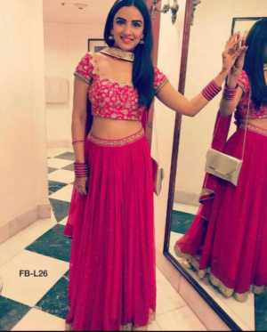 Pink Color Georgette Party Wear Heavy Designer Lehenga