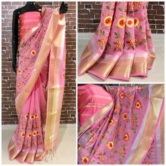 Pink Color Linen Silk Party Wear Embroidered Saree