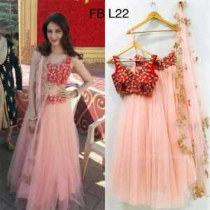Pink Color Net Party Wear Designer Lehenga