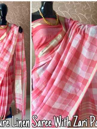 Pink Color Pure Linen Party Wear Designer Saree