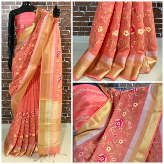 Pitch Color Linen Silk Party Wear Embroidered Saree