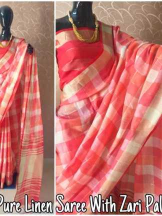Pitch Color Pure Linen Party Wear Designer Saree