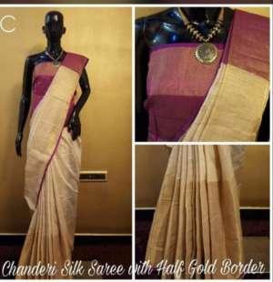 Purple And Grey Color Chanderi Party Wear Designer Saree