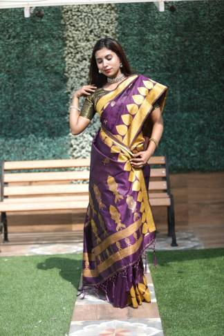 Purple Color Banglori Raw Silk Party Wear Designer Saree