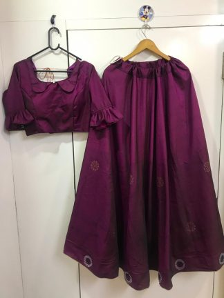 Purple Color Two Tone Tafeta Silk Party Wear Lehenga