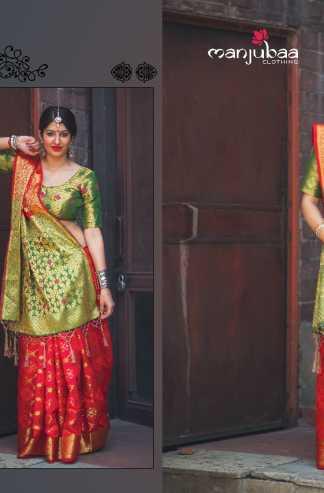 f353eedda87 Buy Red Color Banarasi Silk Party Wear Designer Saree online at ...