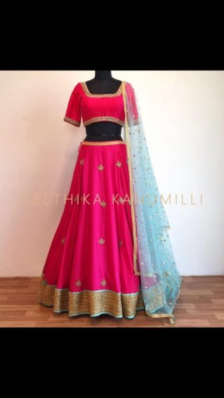 Rich Pink Color Georgette Designer Lehenga Choli