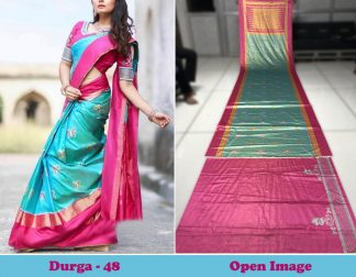 Sky Blue Color Satin Gota Zari Designer Saree
