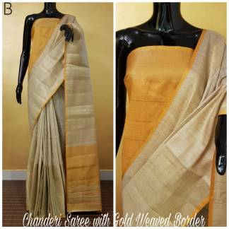 Yellow And Grey Color Chanderi Party Wear Designer Saree