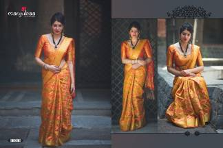 Yellow And Orange Color Banarasi Silk Party Wear Designer Saree