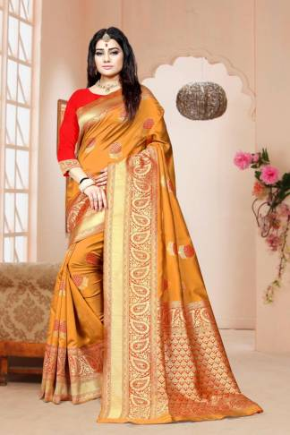 Yellow Color Banarasi Silk Party Wear Designer Saree