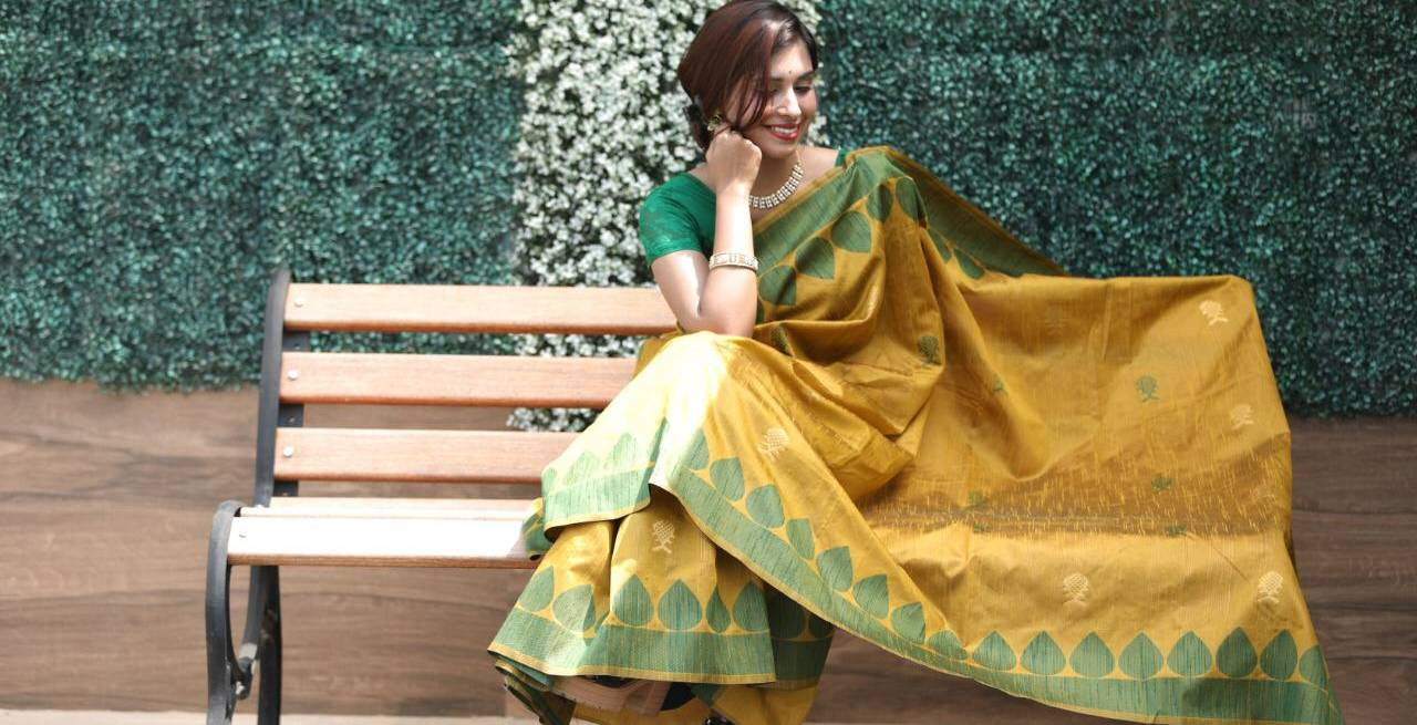 Yellow Color Banglori Raw Silk Party Wear Designer Saree1