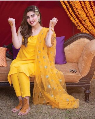 Yellow Color Heavy Indo Cotton Designer Salwar Suit