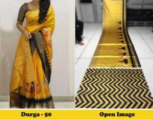 Yellow Color Satin Gota Zari Designer Saree