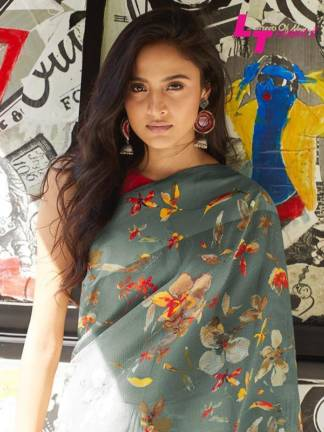 Grey Color Soft Linen Party Wear Saree