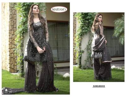 Black Color Heavy Net Embroidery Work Partywear Pakistani Suit