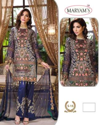 Blue Color Georgettte Embroidery Work Partywear Pakistani Suit