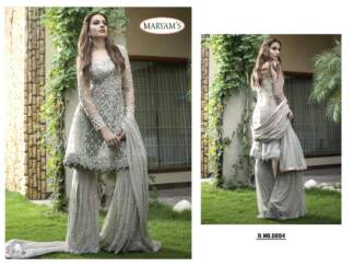 Grey Color Heavy Net Embroidery Work Partywear Pakistani Suit