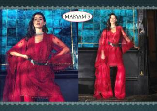 Maryam's Red Colour Super Net Embroidery Work pakistani Suit With Santoon Bottom & Inner And Dupatta With Super Net Embrodery Work