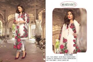 Maryam's White Colour Georgette Heavy Embroidery Work Pakistani Suit With Santoon Bottom & Inner And Nazneen Dupatta With Embrodery Work