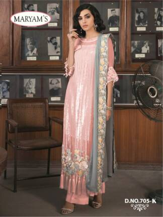 Peach Color Georgettte Embroidery Work Partywear Pakistani Suit