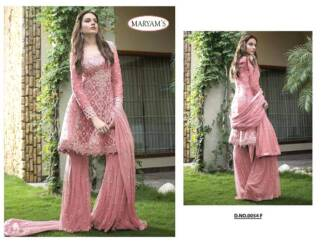 Peach Color Heavy Net Embroidery Work Partywear Pakistani Suit