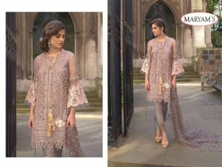 Peach Color Net Embroidery Work Partywear Pakistani Suit