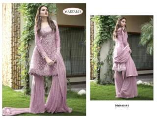 Violet Color Heavy Net Embroidery Work Partywear Pakistani Suit