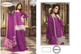 Wine Color Georgettte Embroidery Work Partywear Pakistani Suit