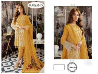 Yellow Color Georgettte Embroidery Work Partywear Pakistani Suit