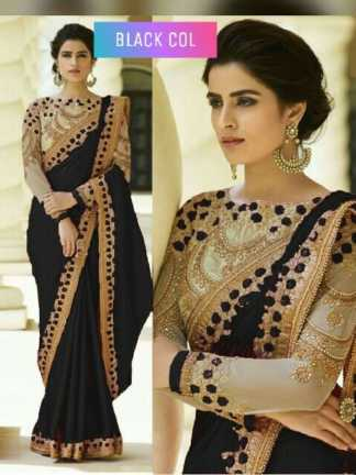 Black Color Rangoli Silk Party Wear Saree With Embroidered And Diamond Work