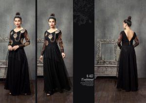 Black Georgette with Layered Net Western Wear Gown Fancy Stylish Kurti K-467
