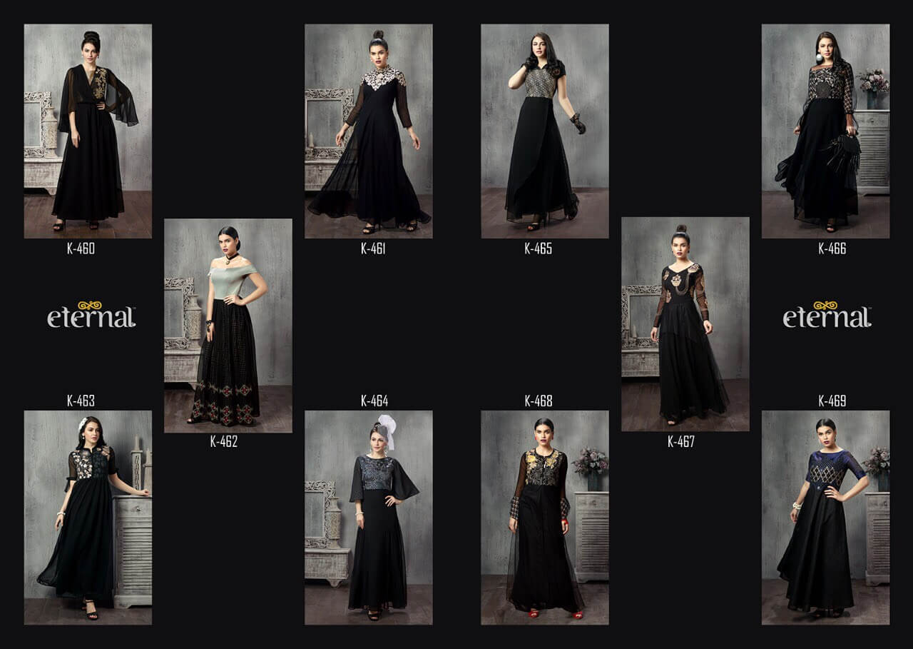 Black Georgette with Silk Western Wear Gown Fancy Stylish Kurtis Collection