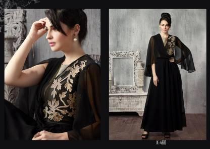 Black Georgette with Silk Yoke Western Wear Gown Fancy Stylish Kurti K-460