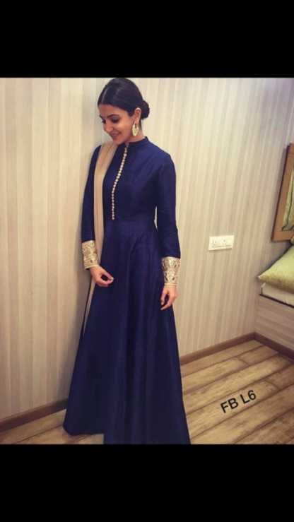 Blue Color Banglori Silk Party Wear Gown