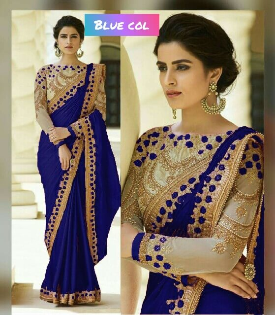 bc8ae6b913103 Blue Color Rangoli Silk Party Wear Saree With Embroidered And Diamond Work