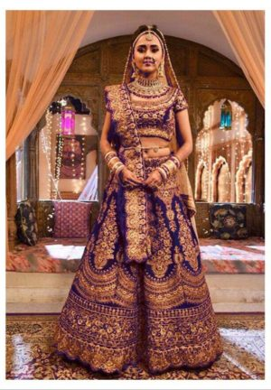 Blue Color Velvet Designer Heavy Embroidered Bridal Lehenga