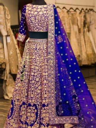 Blue Color Velvet Designer Heavy Embroidered Bridal Lehenga