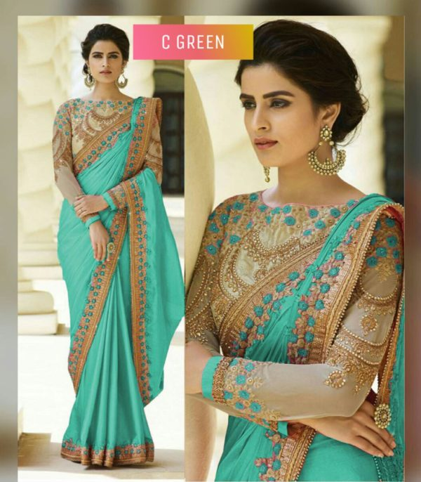 C Green Color Rangoli Silk Party Wear Saree With Embroidered And Diamond Work