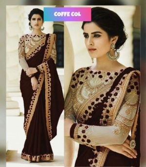 Coffee Color Rangoli Silk Party Wear Saree With Embroidered And Diamond Work