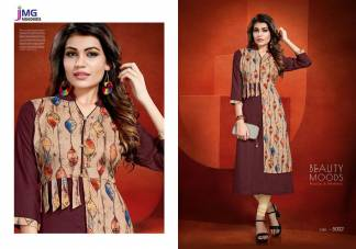 Cotton Rayon Print Maroon Color Casual Wear Kurti (Design 5002)