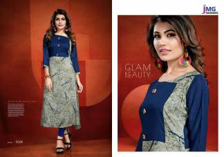 Cotton Rayon Print Navy Blue Grey Color Casual Wear Kurti (Design 5006)