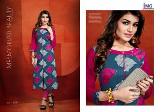 Cotton Rayon Print Pink Navy Blue Color Casual Wear Kurti (Design 5005)