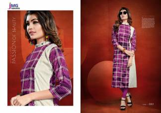 Cotton Rayon Print Purple Color Casual Wear Kurti (Design 5001)