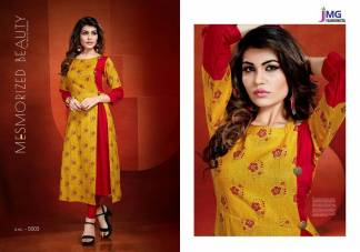 Cotton Rayon Print Yellow Red Color Casual Wear Kurti (Design 5003)
