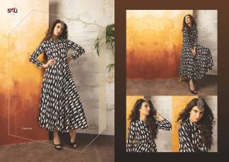 Embroidered Georgette Black Color Stylish Kurti-Tribal 08