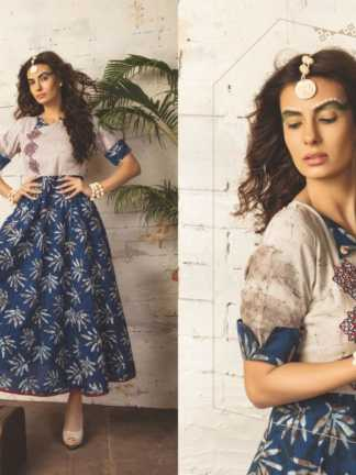 Embroidered Georgette Blue Grey Color Stylish Kurti-Tribal 09