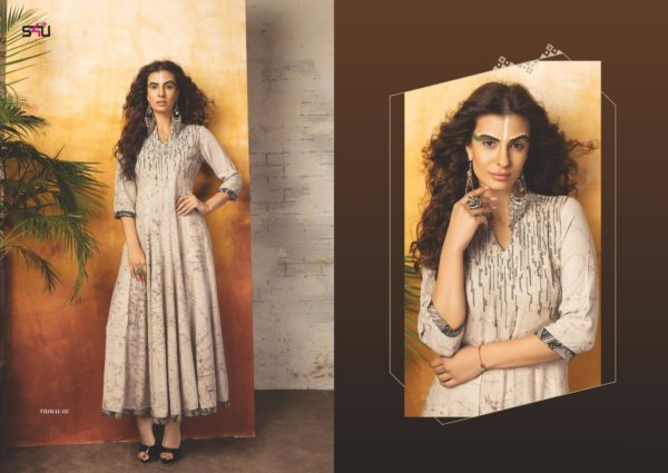 Embroidered Georgette Grey Color Stylish Kurti-Tribal 02