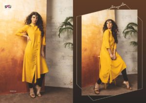 Embroidered Georgette Haldi Color Stylish Kurti-Tribal 04